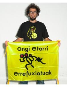 Bandera Ongi Etorri Errefuxiatuak en apoyo a las personas refugiadas