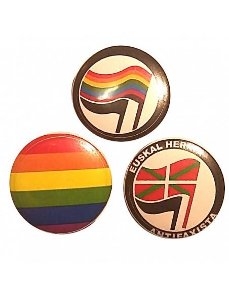 Tres chapas antifascistas/LGBTIQ