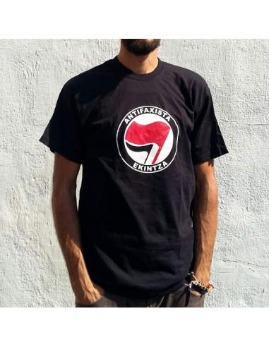 Camiseta negra logo grande Antifaxista Ekintza
