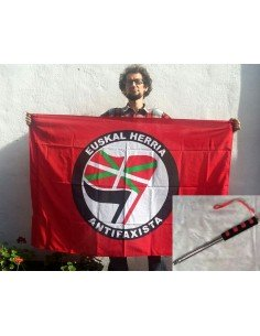 PACK Bandera roja Euskal Herria Antifaxista + mástil