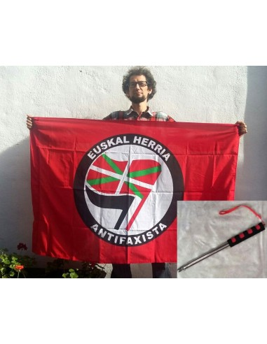 Bandera Antifascista + mástil