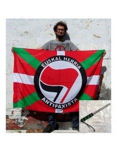 PACK Ikurriña Euskal Herria Antifaxista + mástil