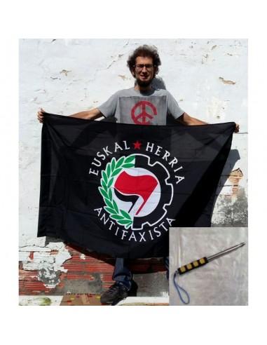 PACK Bandera negra Euskal Herria Antifaxista + mástil