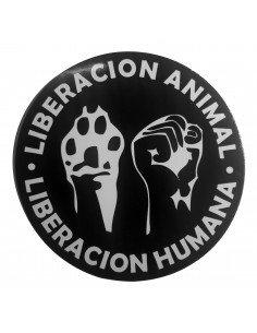 Pegatina liberación animal, liberación humana