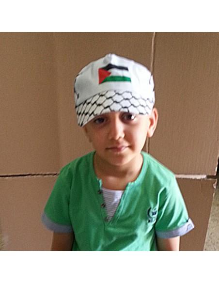 Gorra de Palestina con colores del Kufiya y de la bandera palestina