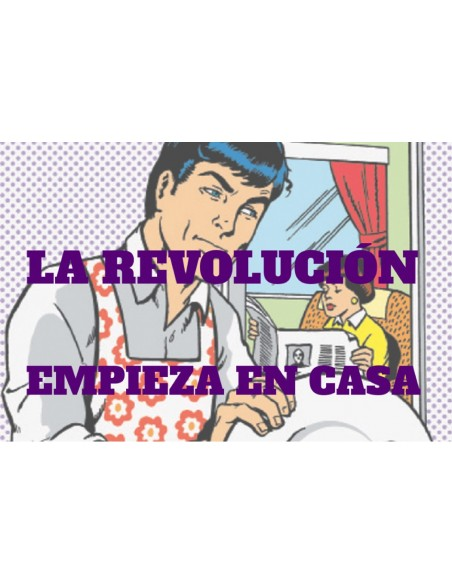 Pegatina: La Revolución empieza en casa.