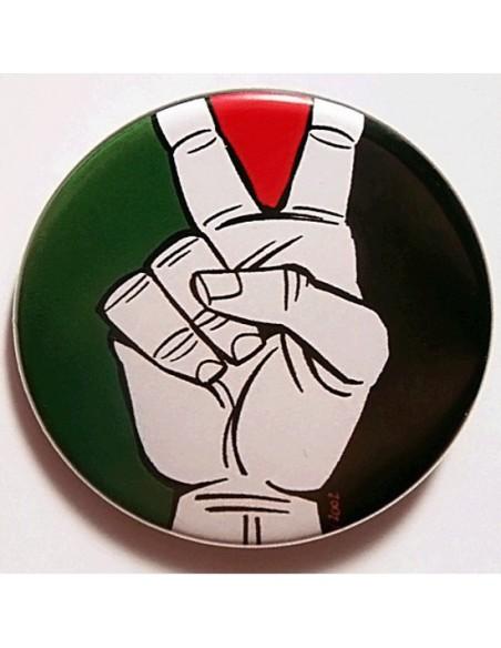 Chapa palestina con el V de Victoria