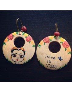 Pendientes Frida Kahlo de madera artesanal