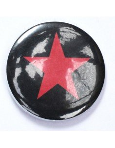 Chapa estrella roja sobre fondo negro