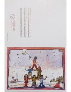 Postal pirámide de niñas y niños para navidad