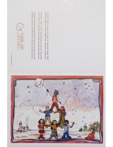 Postal pirámide de niños para navidad