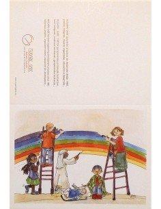 Postal pintando el arcoíris de navidad