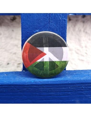 Chapa bandera palestina + símbolo de paz