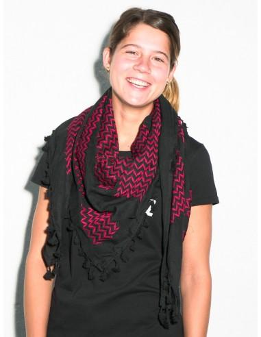 Pañuleo palestino (Kufiya) rojo y negro