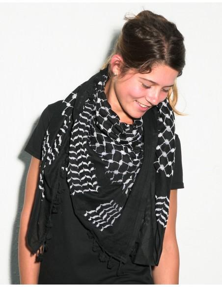 Pañuelo palestino auténtico (Kufiyya) - negro
