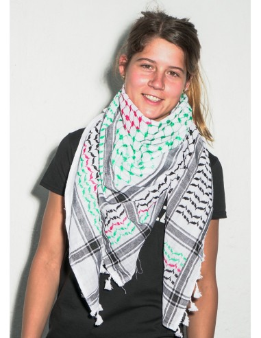 Pañuelo palestino autentico (Kufiya) con colores de la bandera